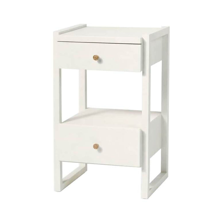 Geometric nightstand with two off-set drawers and white vintage faux shagreen.
