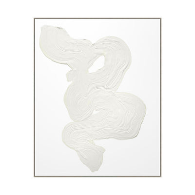 An abstract art piece with textural white ribbons of paint.