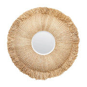 The Lahaina Mirror with a woven raffia circular frame and tufted details.