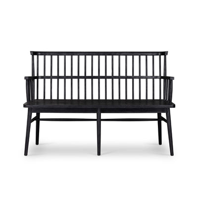 Black bench with arms.