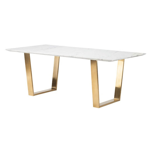 Contemporary rectangle dining room table with white marble tabletop and gold legs.