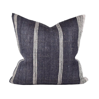 The Bhujodi Pillow - Charcoal is a square, charcoal woven pillow with white stripes.