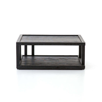 The Elmira Coffee Table in a black oak finish with a raised lip on both tiers.
