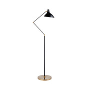 The Charlton Floor Lamp has three, adjustable joints with a black finish and antique brass base and joints.