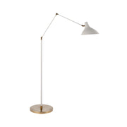 The Charlton Floor Lamp has three, adjustable joints with a plaster white finish and antique brass base and joints.