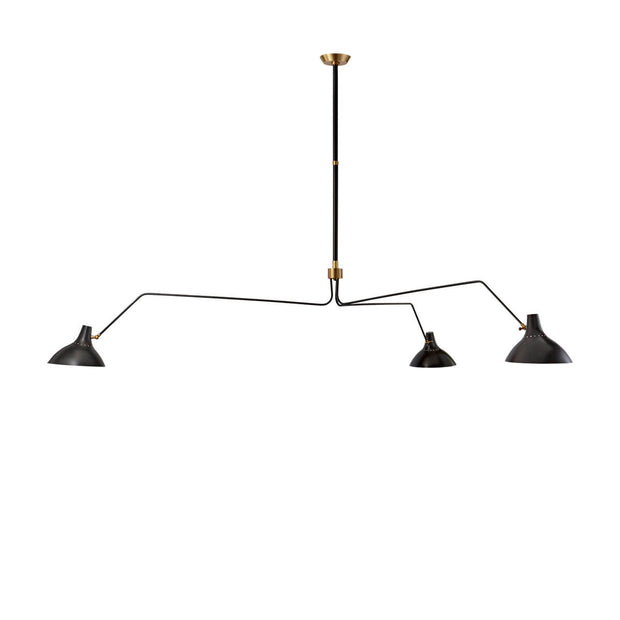 The Charlton Triple Arm Chandelier is a modern chandelier with three slender, extended arms and small metal shades in a black finish.