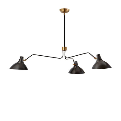 The Charlton Triple Arm Chandelier is a modern chandelier with three slender, extended arms and small shades in a black finish.