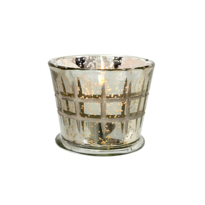The Check Cuts Votive is made from glass with a silver finish and check engraved pattern.