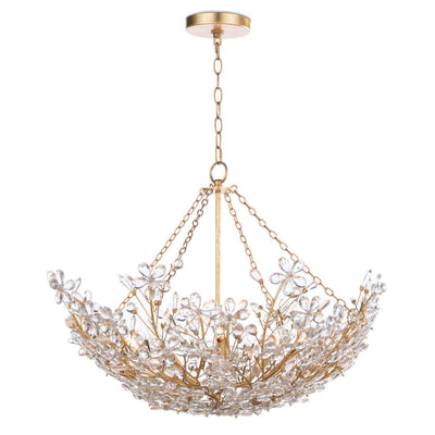 Sakura Basin Chandelier. Flower crystal basin chandelier with gold basin frame.