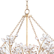 Sakura Basin Chandelier. Basin chandelier with a gold frame, crystal flowers, and chain details.