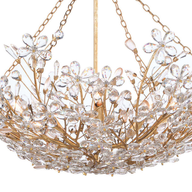 Flower and crystal details on the Sakura Basin Chandelier. Beaded chandelier with a gold basin frame and flower crystals.