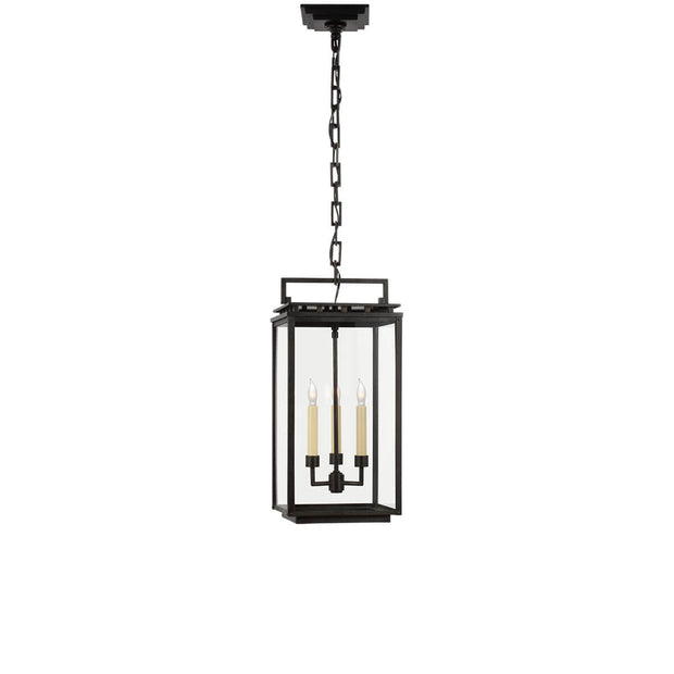 The Cheshire Hanging Lantern has an aged iron rectangular frame with three interior candle lights.