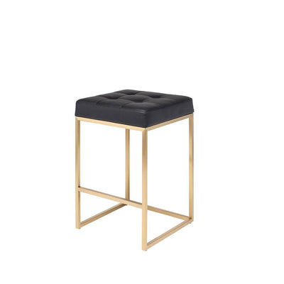 Glam bar stool with a brushed gold stainless steel frame and black leather seat.