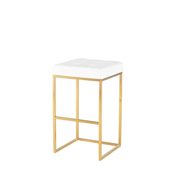 Glam bar stool with a gold stainless steel frame and white leather seat.