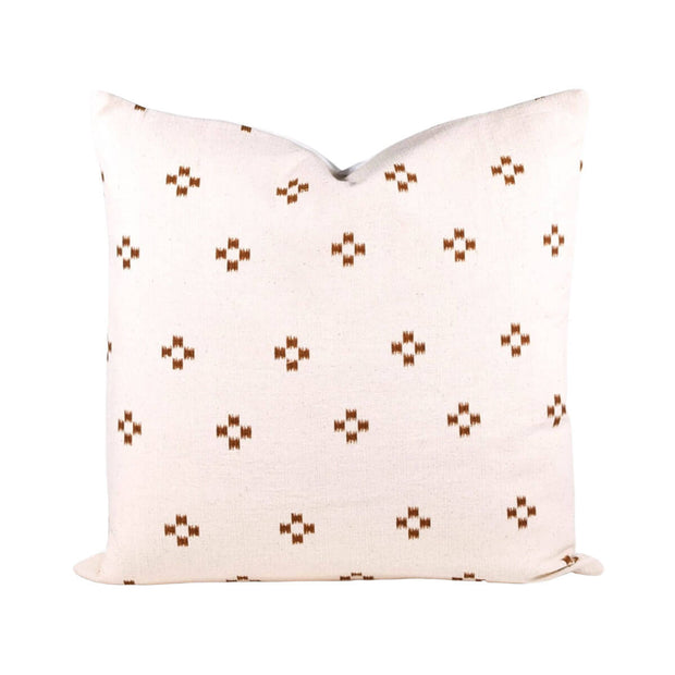 The Thailand Pillow is a cream coloured pillow with a brown dot inspired pattern for a modern,playful look.