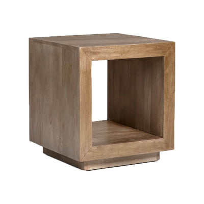 The Boise Side Table is made of solid mango wood with a light ash finish and has an open cube shape.