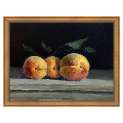 Fruit Life 2 is a still-life, reproduction artwork of painted peaches.