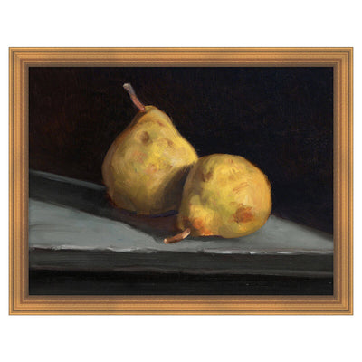 Fruit Life 4 is a framed, reproduction artwork of still-life painted pears.