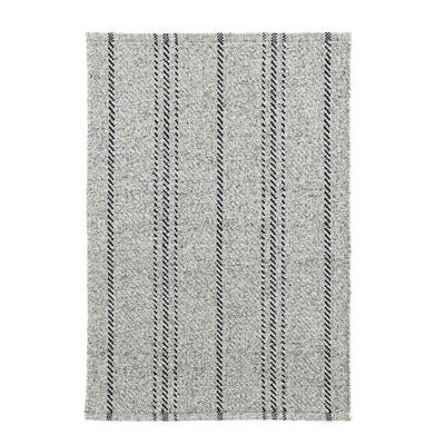 Classic grey and black stripe indoor outdoor rug.