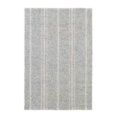 Classic grey and white striped indoor and outdoor rug.