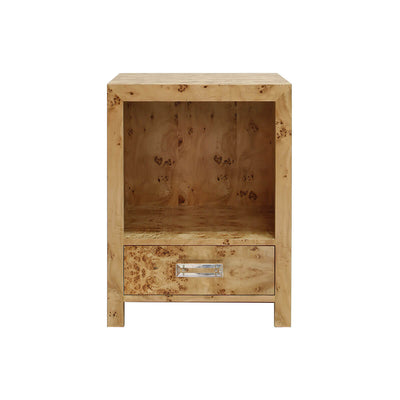 The Clearwater Nightstand is made of natural burl wood and has a single drawer, open shelving and acrylic hardware.