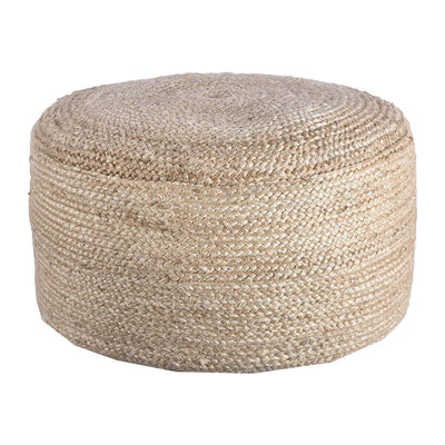 The Mesquite Pouf is made of braided hemp and has a round shape and organic feel.