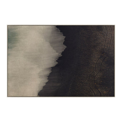 A darker beach inspired painting of tides on clear primed lien canvas.