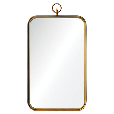 The Breton Mirror in a brass finish with a nautical look.