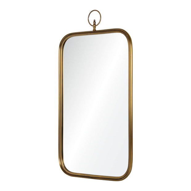 Simple brass framed mirror with a top ring detail.