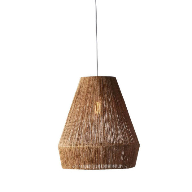 The Bondi Pendant is made of jute wrapped around a gem shaped wire frame.