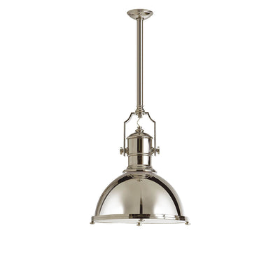 The Country Industrial Pendant is an industrial looking light with a thick polished nickel rod, polished nickel shade and bolt details.