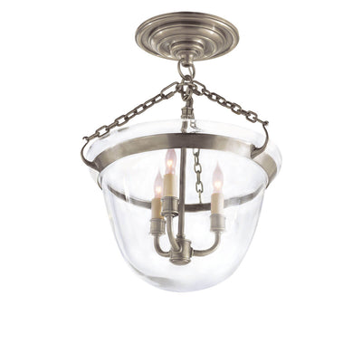 The Country Semi-Flush Bell Jar Lantern is a semi flush light with a bell shaped glass shade, candle-lick lights and antique nickel chain and accents.