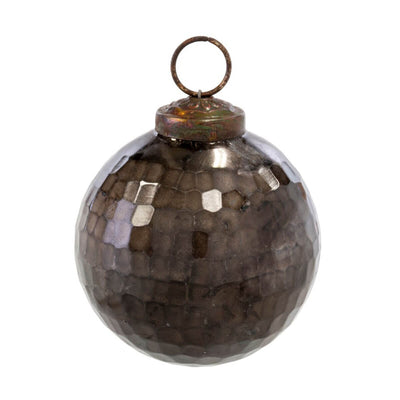 The Cove Hammered Ornament is a large, dark brown hammered glass ornament.