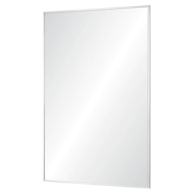 Large, modern mirror that has a polished stainless steel frame and can be hung vertically or horizontally.
