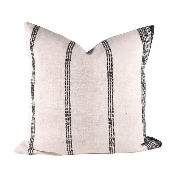 The Bhujodi Pillow - Cream/Charcoal is a cream woven pillow with charcoal stripes.
