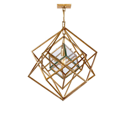 The Cubist Chandelier has a geometric pendant with many overlapping, gild arms and an interior glass box around the single lightbulb.