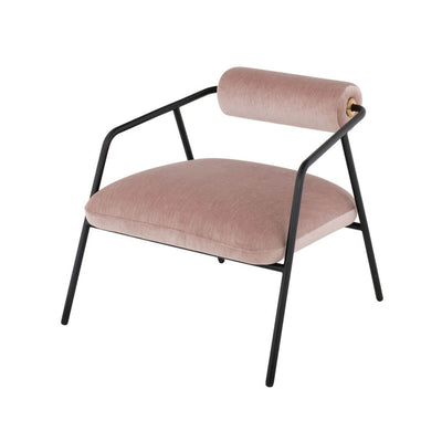 The Protaras Occasional Chair has a black steel tube frame, smooth cylinder backrest and is covered in petal velvet.