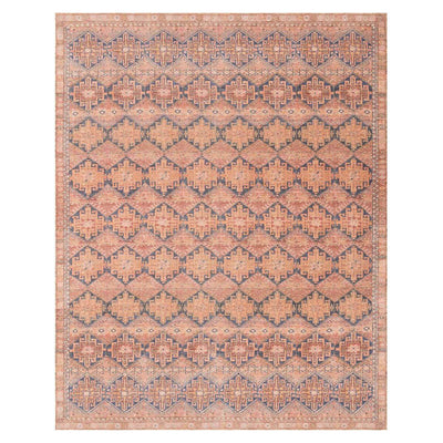 The Bayonne Persimmon / Indigo Rug has a traditional, diamond pattern in dark red and blue colours.