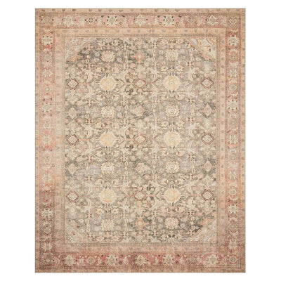 The Bayonne Charcoal / Blush Rug is an affordable rug with a traditional pattern in warm colours.