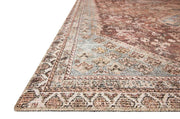 Affordable, medium pile rug with a blue and red traditional pattern.