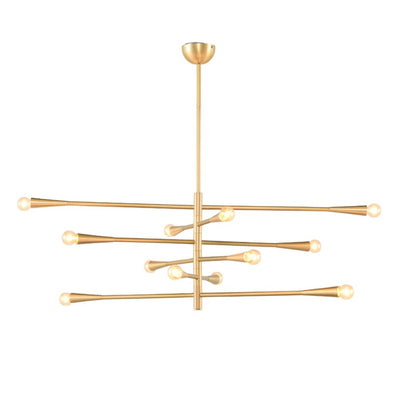 Delphi Pendant with reconfigurable horizontal arms in a gold finish.