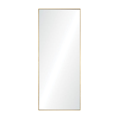 Rectangular full-length mirror with gold leaf finish.