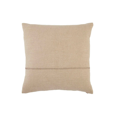 "Front of 22""x22"" indoor pillow with stitching detail. Light beige cover. 100% down fill."