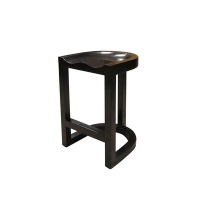 Classic solid wood bar stool with a formed seat and rounded base.