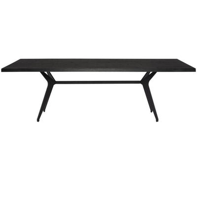 The Saratov Dining Table has matte black steel legs and a industrial drop-bae and black onyx top.