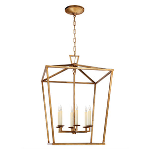 Large Medieval lantern light pendant. Gilded Iron.