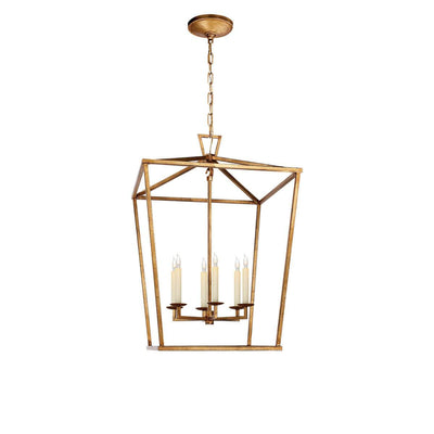 The Darlana Lantern is a gilded iron metal, square lantern frame with five candle-like lights.