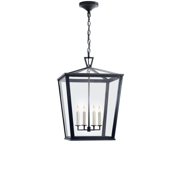 The Darlana Hanging Lantern is a comforting, outdoor lantern with a bronze frame, clear glass panels and four interior candle lights.
