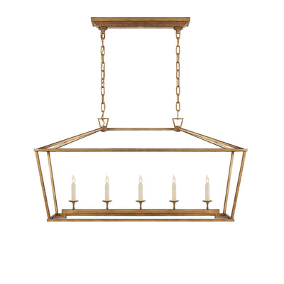The Darlana Linear Lantern Lantern is an gilded iron metal lantern frame with five candle-like lights.