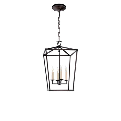 The Darlana Lantern is a small aged iron metal, square lantern frame with five candle-like lights.
